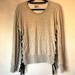 Pam & Gela Side Lace Up Sweatshirt Size Small Gray